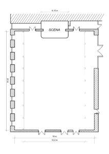 rysunek sali weselnej w bielsku białej